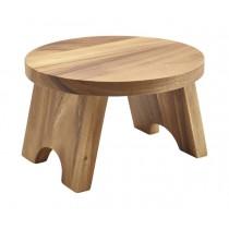 "Genware Acacia Wood Round Buffet Riser 25cm-10"""