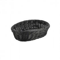 Genware Polywicker Oval Basket Black 22.5x15.5cm
