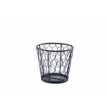 {Genware Black Wire Basket Round 12cm Dia}