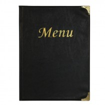 Berties Basic A5 Menu Cover Black 8 Pages