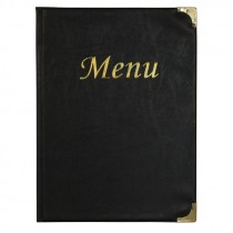 Berties Basic A4 Menu Cover Black 8 Pages