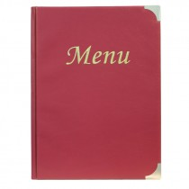 Berties Basic A4 Menu Cover Wine Red 8 Pages