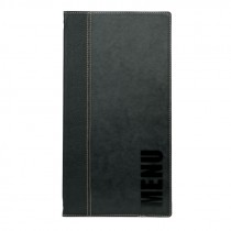 Berties Contemporary Long Menu Cover Black 4 pages 36x18cm