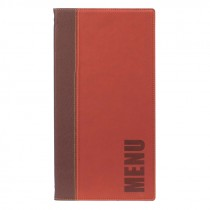 Berties Contemporary Long Menu Cover Wine Red 4 pages 36x18c
