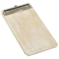 Genware Wooden Wine Menu Clipboard White Washed 13x24.5cm