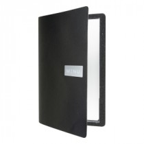 Berties Raw Leather Menu Holder Black A4 4-Page