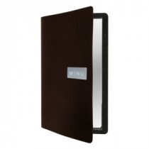 Berties Raw Leather Menu Holder Brown A4 4-Page