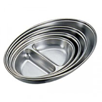 Genware Stainless Steel Vegetable Dish 2 Division 200mm