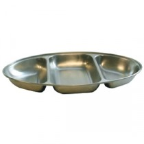 Genware Stainless Steel Vegetable Dish 3 Division 350mm