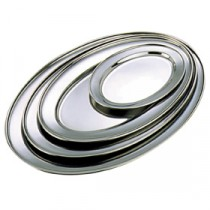 Genware Stainless Steel Oval Meat Flat Platter 225x160mm