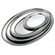 Genware Stainless Steel Oval Meat Flat Platter 600x400mm
