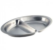 Genware Stainless Steel Banquet Dish 2 Division 500mm