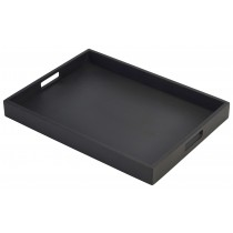 {Genware Wooden Butlers Tray Black 44x32x4.5cm}