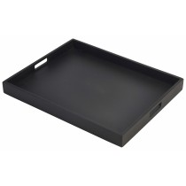 {Genware Wooden Butlers Tray Black 49x38x4.5cm}