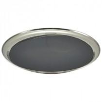 "Genware Stainless Steel Anti-Slip Round Tray 30cm/12"""