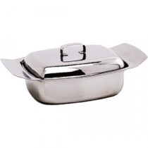 Genware Stainless Steel Butter Dish and Lid 250g