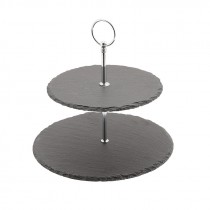 Genware Slate 2 Tier Cake Stand 20cm and 25cm Plates