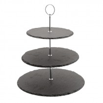 Genware Slate 3 Tier Cake Stand 20cm, 25cm and 30cm Plates