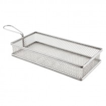 Genware Stainless Steel Serving Fry Basket 26x13x4.5cm