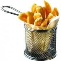 Genware Stainless Steel Round Serving Fry Basket 9.3x9cm