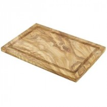 Genware Olive Wood Serving Board with Groove 30x20cm