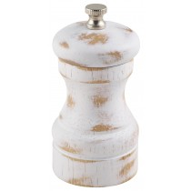 {Genware White Wash Salt or Pepper Mill 100mm}