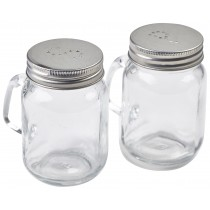 {Genware Mason Jar Salt & Pepper Set 85mm}