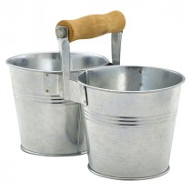Genware Galvanised Steel Combi Serving Buckets 10cm Diameter