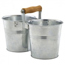 Genware Galvanised Steel Combi Serving Buckets 12cm Diameter