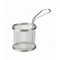 Genware Stainless Steel Round Serving Fry Basket 8x7.5cm