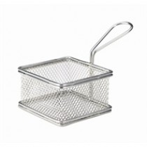 Genware Stainless Steel Square Serving Fry Basket 9.5x9.5x6cm