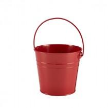 Genware Stainless Steel Red Serving Bucket 16cm Diameter