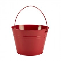 Genware Stainless Steel Red Serving Bucket 25cm Diameter