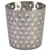 {Genware Vintage Steel Serving Cup Hammered 8.5x8.5cm}