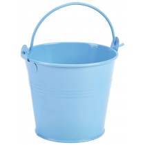 {Genware Galvanised Steel Serving Bucket Blue 10cm Diameter}