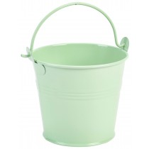 {Genware Galvanised Steel Serving Bucket Green 10cm Diameter}