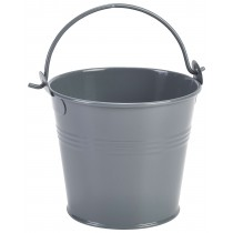 {Genware Galvanised Steel Serving Bucket Grey 10cm Diameter}