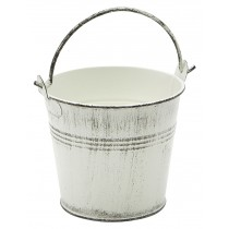 Genware Galvanised Steel Serving Bucket White Wash 10cm Diameter