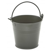Genware Galvanised Steel Serving Bucket Dark Olive 10cm Diameter