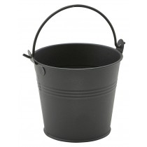 Genware Galvanised Steel Serving Bucket Matt Black 10cm Diameter