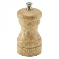 Genware Light Wood Salt or Pepper Mill 10cm-4""