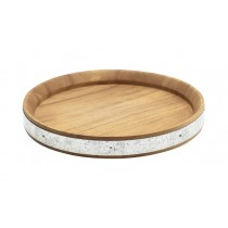 Genware Acacia Wood Zinc Band Serving Board 24cm-9.5""