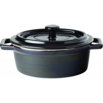 Utopia Midnight Black Stoneware Oval Lidded Casserole 48cl/17oz