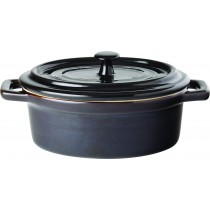Utopia Midnight Black Stoneware Oval Lidded Casserole 35cl/12.5oz