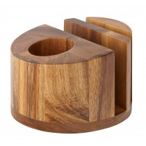 Utopia Acacia Wood Menu Stand/Cutlery and Napkin Holder Round