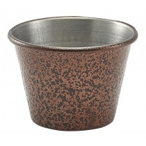Genware Stainless Steel Ramekin Hammered Copper 7cl-2.5oz