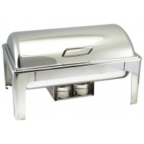 Genware Stainless Steel Roll Top Soft Close Chafing Dish 8.5L