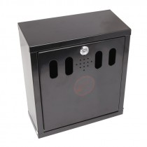Genware Black Stainless Steel Outdoor Ashtray - Wall Mounted