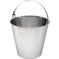 Genware Stainless Steel Bucket Plain Base Graduated 12L