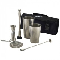 Berties Vintage Steel Cocktail Bar Kit 7pcs